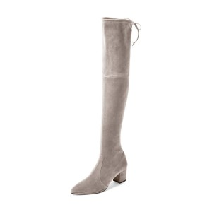 Taupe Boots Pointy Toe Block Heel Suede Fashion Over-the-Knee Boots