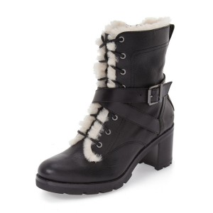 Black Lace up Combat Boots Round Toe Chunky Heels for Winter