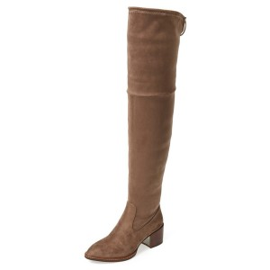 Women's Brown Cold Weather Boots-Knee-High Chunky Heel Boots