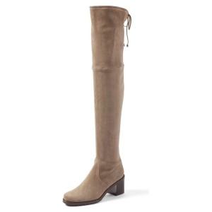 Women's Brown Suede Warm Over-the-Knee Chunky Heel Boots