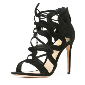 Women's Black Suede Strappy Lace Up Stiletto Heels Sandals