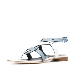 White and Light Blue Flat Sandals Comfortable Slippers