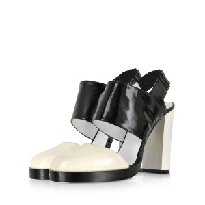 Black and White Formal Shoes Block Heel Slingback Sandals