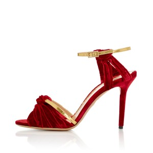 Red and Golden Ankle Strap Sandals Suede Open Toe Stiletto Heels