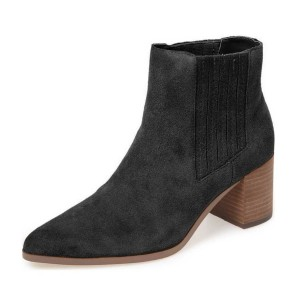 Black Short Boots Suede Pointy Toe Wooden Block Heel Ankle Boots
