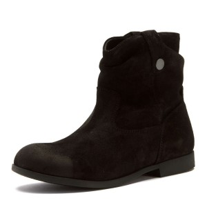Black Slouch Boots Suede Vintage Mid-calf Boots