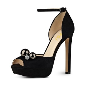 Black Ankle Strap Sandals Rhinestone Peep Toe Stiletto Heels