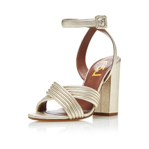 Champagne Ankle Strap Sandals Open Toe Block Heels