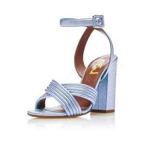 Women's Blue Pumps Heels Ankle Strap Chunky Heel Sandals