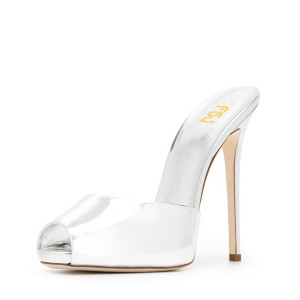 White Peep Toe Heels Mirror Leather Mules Stiletto Heels Sandals