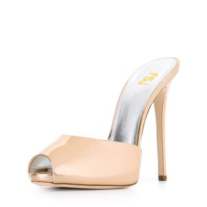 Champagne Peep Toe Heels 5 Inches Stiletto Heels Mules Sandals