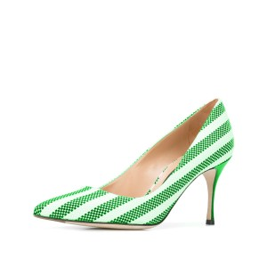 Green and White Stripes 3 Inch Heels Pointy Toe Spool Heel Pumps