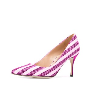 Women's Violet  Plaid  Low-cut Uppers Pointed Toe Stiletto Heels Shoes