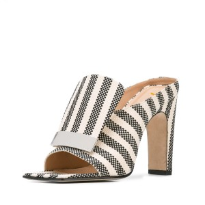 Women's Black and White Plaid Stripes Chunky Heels Mule Sandals