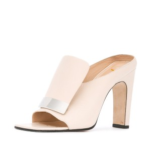 FSJ Ivory Heels Open Toe Chunky Heel Mules for Office Lady