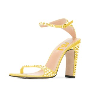 Women's Yellow Stiletto Heel Open Toe Glitter Rivets  Ankle Strap Sandals