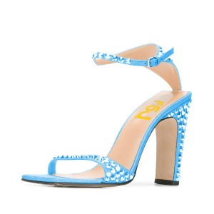 Women's Blue Heels Glitter Rivets  Bridal Shoes Ankle Strap Sandals
