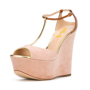 Women's Pink T-strap Peep Toe Wedge Heels Suede Sandals