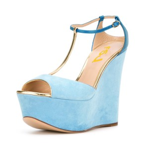 Light Blue Wedge Sandals T-strap Suede Peep Toe Platform Heels