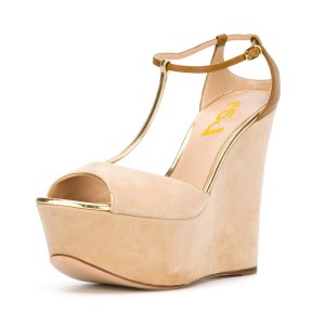 Women's Khaki Peep Toe Wedge Heel Suede T-strap Sandals