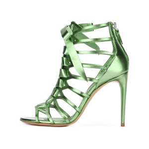 Green Mirror Leather Bow Hollow out Stiletto Heel Gladiator Sandals