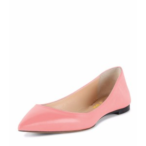 Women's Peach Pink Pointed Toe Comfortable Flats