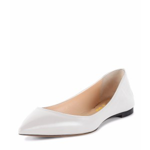 Women's Grey White Pointed Toe Pumps Comfortable Flats