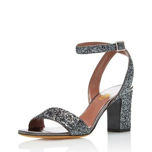 Grey Glitter Shoes Open Toe Ankle Strap Block Heel Sandals