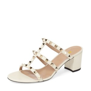 Ivory Block Heel Sandals T-strap Open Toe Studded Mules