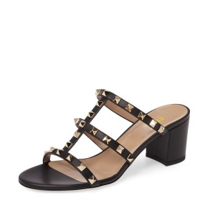 Black Block Heel Sandals Open Toe Mules with Rivets
