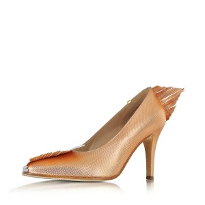 Rose Golden Evening Shoes Pointy Toe Pumps for Women