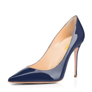 Navy Blue Patent Leather High Heels Pointy Toe Office Shoes