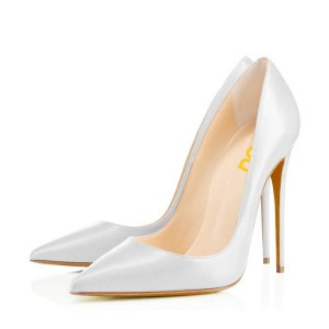 White Office Stiletto Heels Dress Shoes Pointy Toe Commuting Pumps For Women