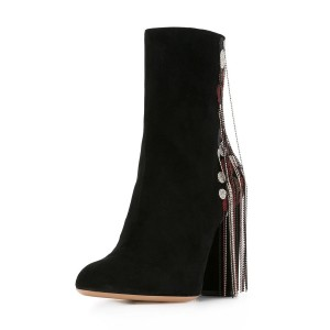 Black Fashion Boots Suede Chunky Heels with Bead Strings Fringe