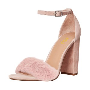 FSJ Blush Fur Heels Ankle Strap Open Toe Suede Chunky Heel Sandals