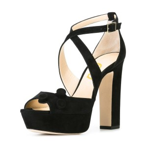 Suede Black Block Heel Sandals Peep Toe Shoes with Platform