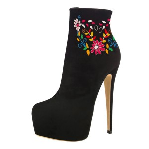 Black Platform Boots Floral Stiletto Heels Ankle Boots Stripper Shoes