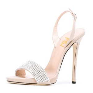 Women's Beige Dress Shoes Crystal Decorated Ankle Strap Stiletto Heels Sandals