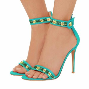 Women's Turquoise Stiletto Heel Floral Ankle Strap Sandals