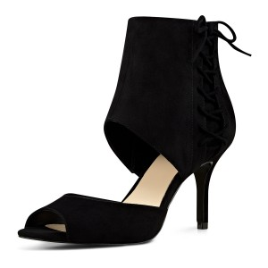 Leila Black Suede Stiletto Heel  Peep Toe Booties