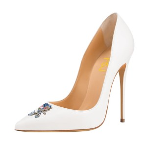 Women's White 4 Inch Heels Pointy Toe Pumps Stiletto Heels Bridal Shoes
