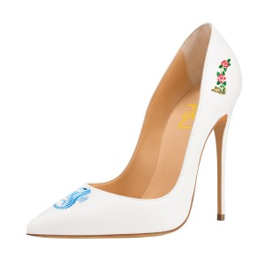 Women's White Formal Printed Pointy Toe Pumps Bridal Heels Shoes