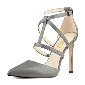 Women's Vita Grey Leather Formal Shoes Stiletto Heel Ankle Strap Sandals