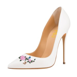 Women's White Pointy Toe Stiletto Heels Pumps Bridal Heels Shoes