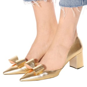 Gold Chunky Heels Bow Pumps