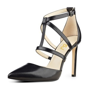 Women's Leila Black Stiletto Heels Dress Shoes Pointed Toe Formal Shoes T Strap Sandals