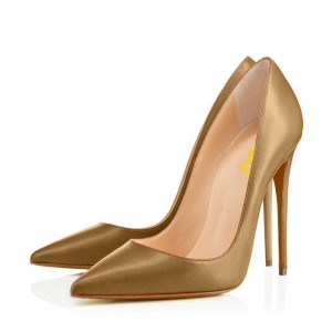 Brown 4 Inch Heels Stilettos Pointy Toe Pumps for Ladies