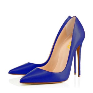 Women's Blue Pointy Toe Smooth Leather Stiletto Heels Pumps Shoes