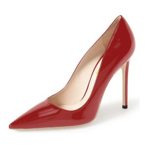 Coral Red Pointy Toe  Patent Leather Low-cut Stiletto Heel Pumps
