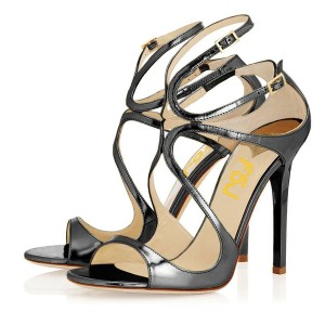 Women's Dark Grey Strappy Sandals Mirror Leather Stiletto Heels by FSJ
